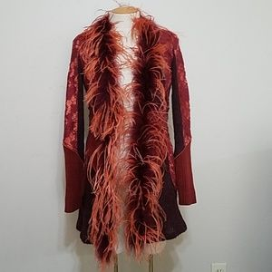 Boston Proper Faux Feather Sweater and Lace Cardi